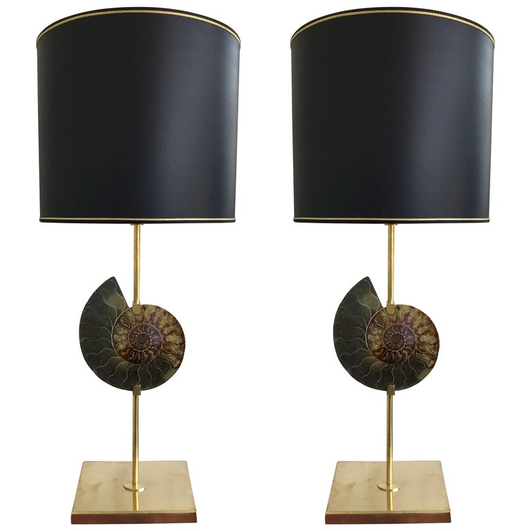 Contemporary Pair of Brass Lamps Ammonite Fossil, Italy For Sale