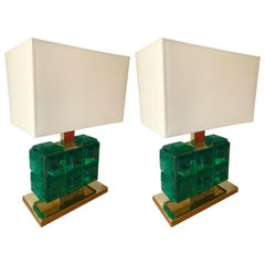 Contemporary Pair of Brass Lamps Green Diamond Murano Glass