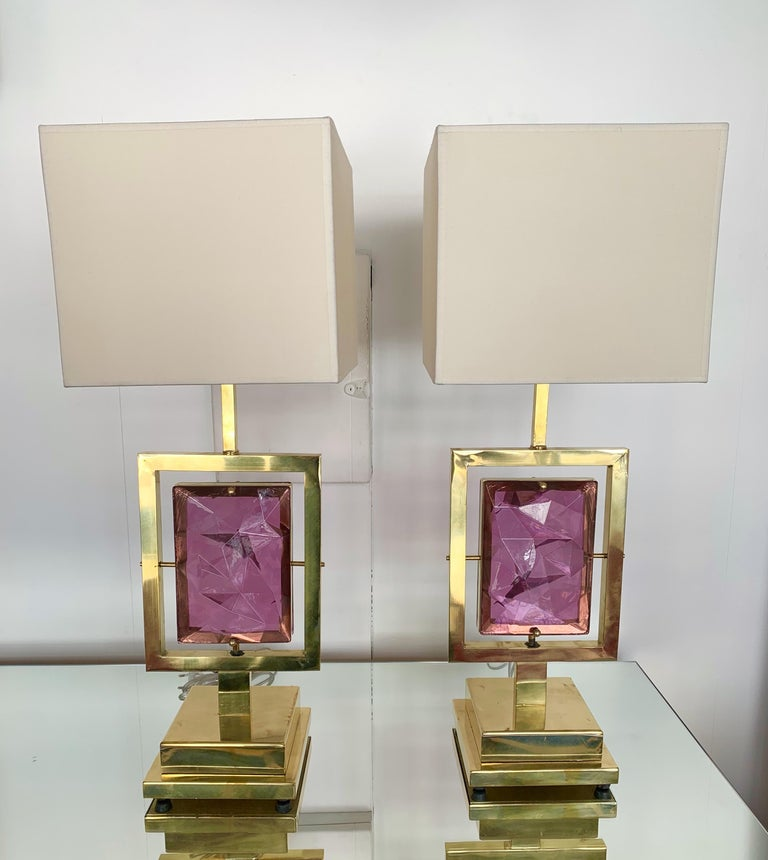 Mid-Century Modern Contemporary Pair of Brass Lamps Murano Glass, Italy For Sale