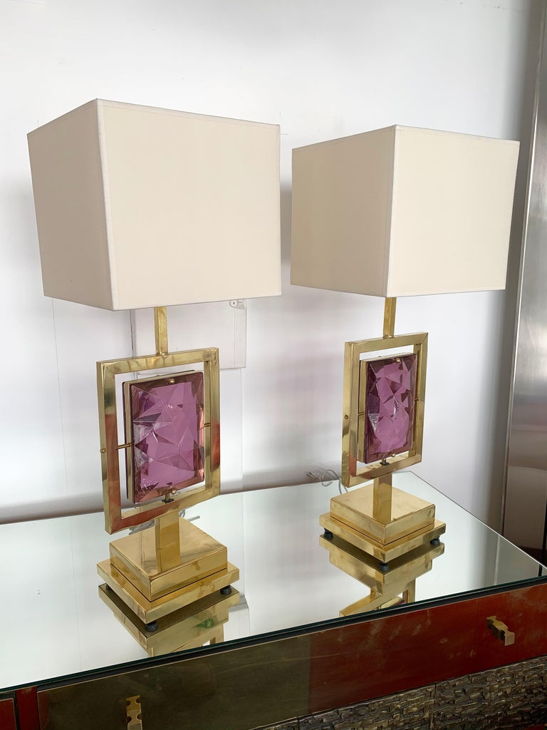 Contemporary Pair of Brass Lamps Murano Glass, Italy For Sale 1
