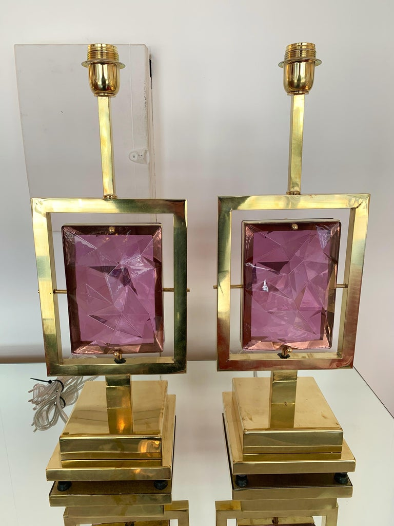 Contemporary Pair of Brass Lamps Murano Glass, Italy For Sale 2
