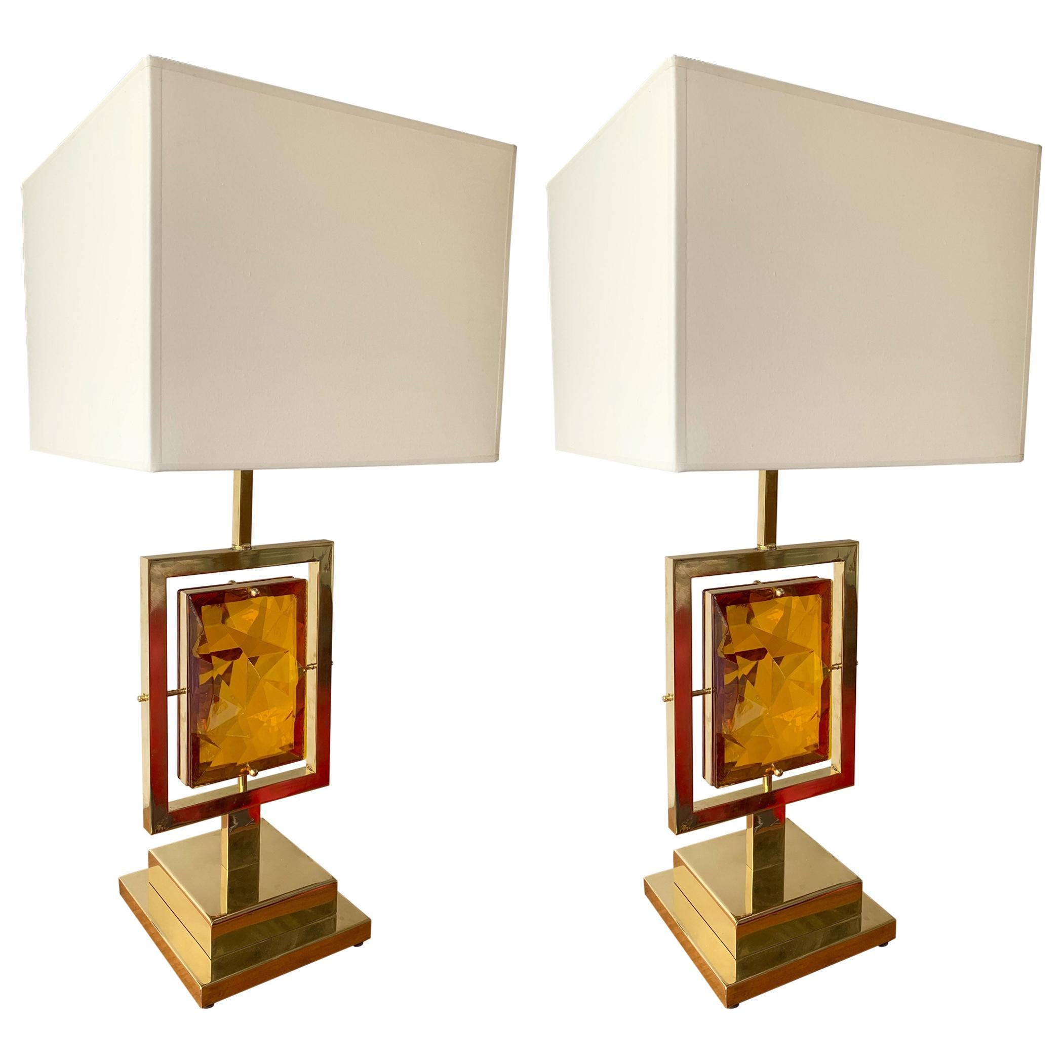 Contemporary Pair of Brass Lamps Murano Glass, Italy