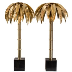 Contemporary Pair of Brass Palm Tree Table Lamps