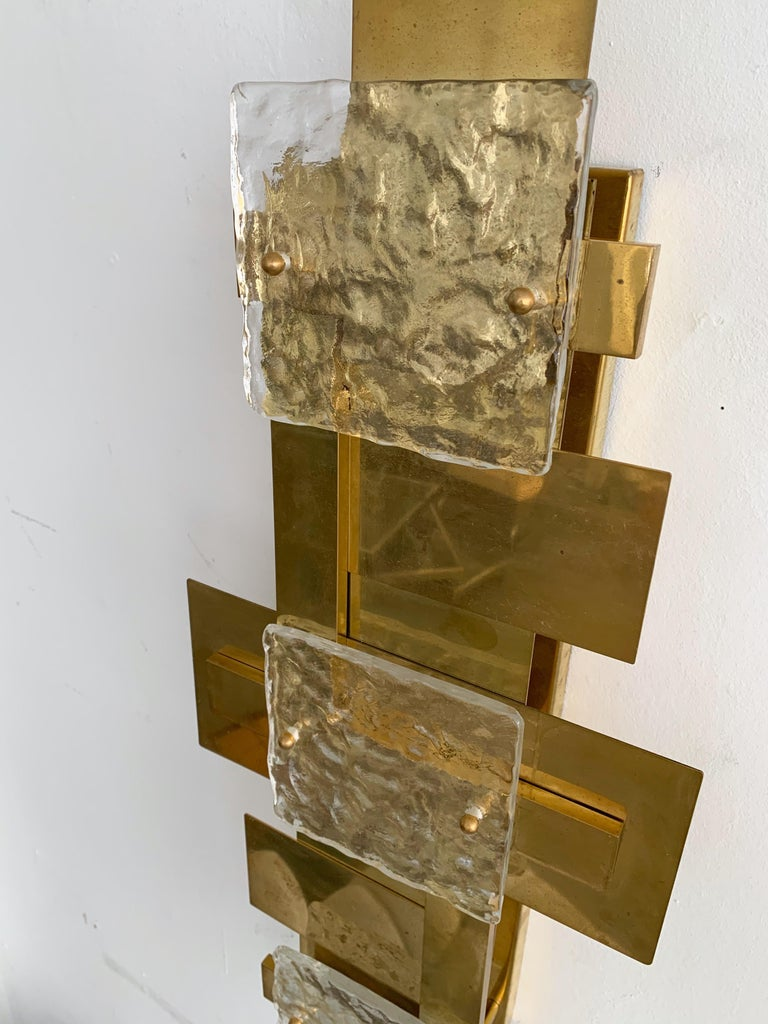 Contemporary Pair of Brass Sconces Geometrical Murano Glass, Italy For Sale 6