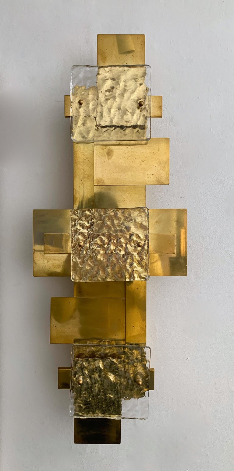 Pair of sconces wall lamps light panels or ceiling flushmount chandelier. Contemporary work, small Italian workshop, few exclusive productions. Full brass and murano glass. In the style of Reggiani, Sciolari, Palwa, Kinkeldey, Hollywood Regency,
