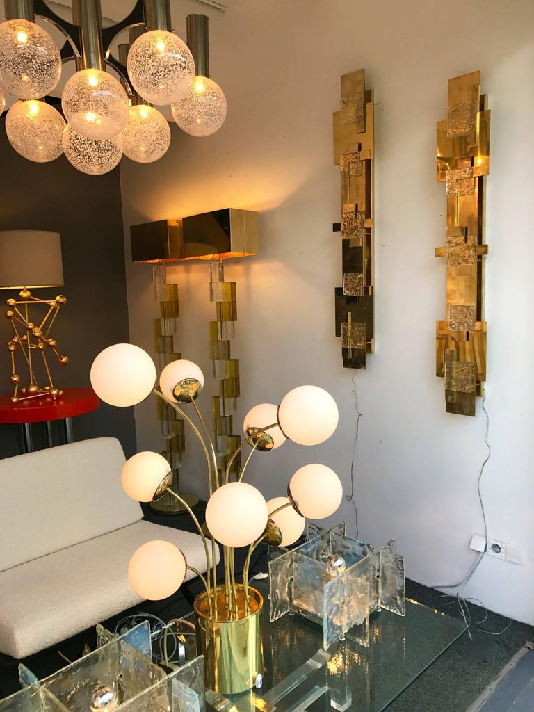 Mid-Century Modern Contemporary Pair of Brass Sconces Geometrical Murano Glass, Italy For Sale