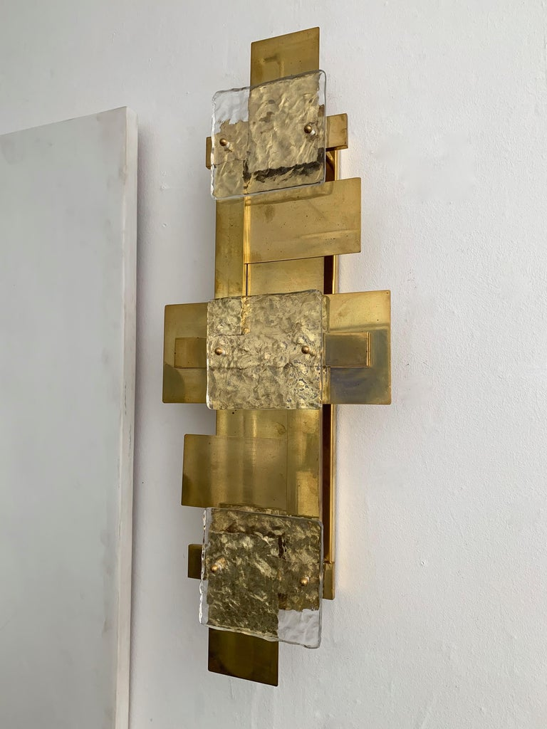 Italian Contemporary Pair of Brass Sconces Geometrical Murano Glass, Italy For Sale