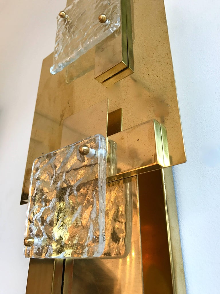 Contemporary Pair of Brass Sconces Geometrical Murano Glass, Italy For Sale 1