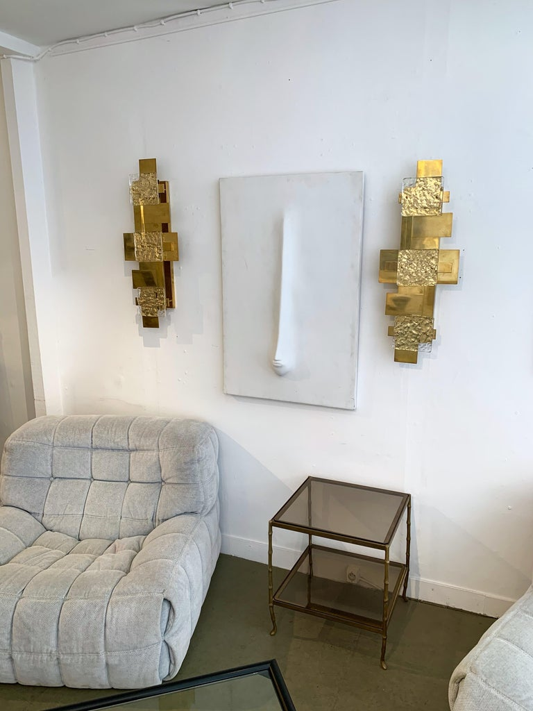 Contemporary Pair of Brass Sconces Geometrical Murano Glass, Italy For Sale 4