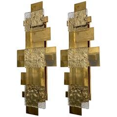 Contemporary Pair of Brass Sconces Geometrical Murano Glass, Italy