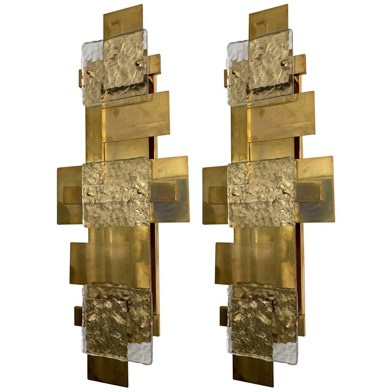 Contemporary Pair of Brass Sconces Geometrical Murano Glass, Italy For Sale