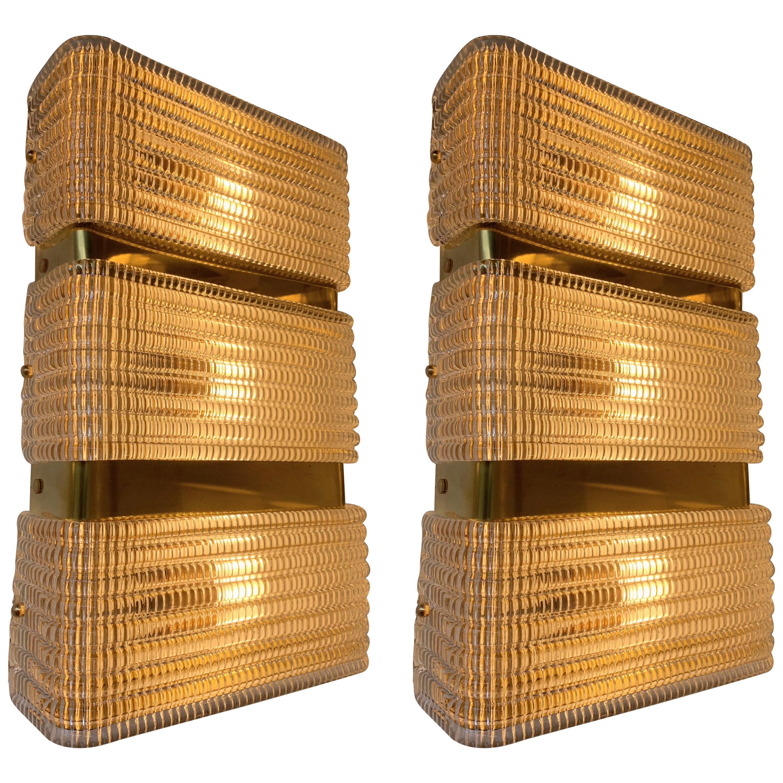 Contemporary Pair of Brass Sconces Murano Glass, Italy