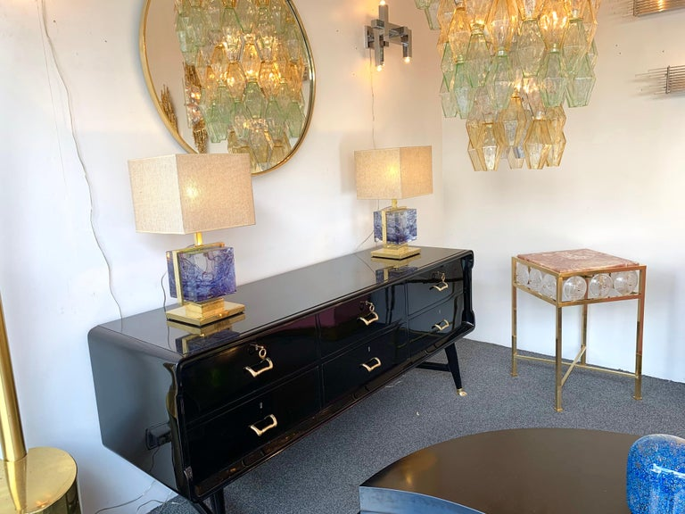 Contemporary Pair of Brass Side Table Rock Cristal Onix, Italy For Sale 5