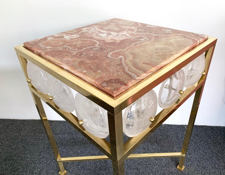 Louis XVI Contemporary Pair of Brass Side Table Rock Cristal Onix, Italy For Sale