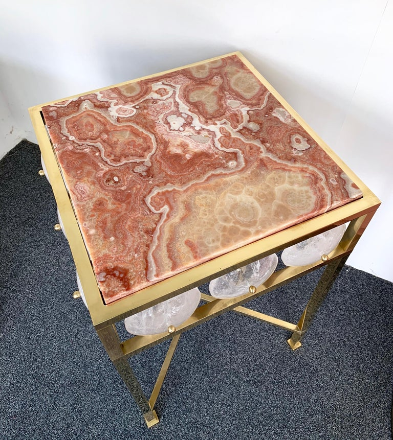 Italian Contemporary Pair of Brass Side Table Rock Cristal Onix, Italy For Sale