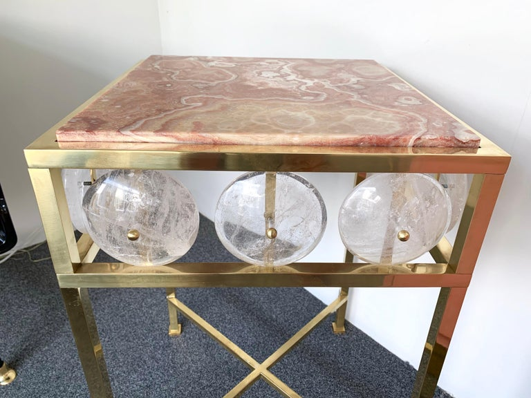 Contemporary Pair of Brass Side Table Rock Cristal Onix, Italy For Sale 1