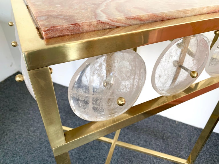 Contemporary Pair of Brass Side Table Rock Cristal Onix, Italy For Sale 3
