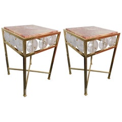 Contemporary Pair of Brass Side Table Rock Cristal Onix, Italy