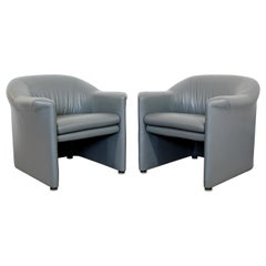 Contemporary Pair of Brayton Gray Leather Accent Lounge Armchairs, 1990s