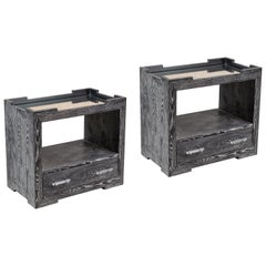 Contemporary Pair of Cerused Oak Bedside Tables