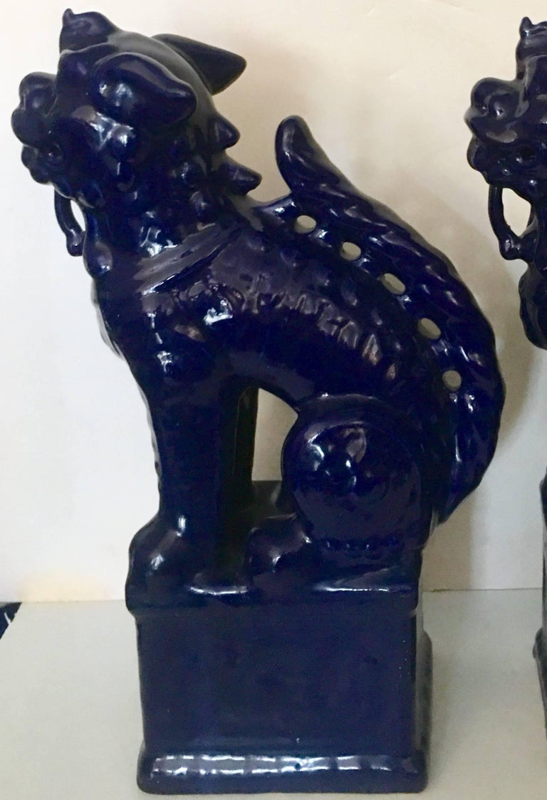 Contemporary Pair Of Chinese Ceramic Glaze Cobalt Foo Dog Sculptures For Sale 2