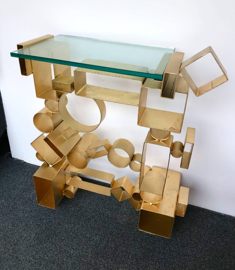 Italian Contemporary Pair of Console Geometry by Antonio Cagianelli, Italy For Sale