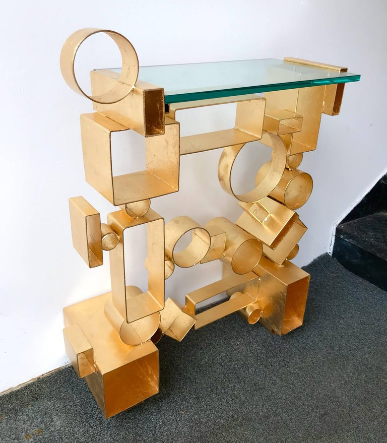 Contemporary Pair of Console Geometry by Antonio Cagianelli, Italy In Excellent Condition For Sale In SAINT-OUEN, FR