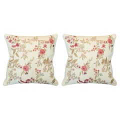 Contemporary Pair of Cotton Pillows with Ornate Floral Embroidery