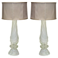Contemporary Pair of Grand White Murano Glass Lamps with Custom Silk Shades