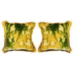 Contemporary Pair of Green / Yellow Silk Velvet Pillows with Fringe Border