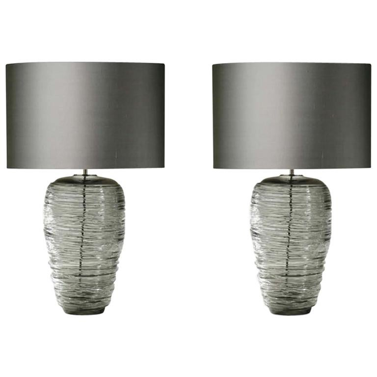 Contemporary Pair of Grey Glass Table Lamps with Silk Lampshade For Sale