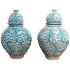 Contemporary Pair of Hand Painted Glazed Terracotta Vases with Lids