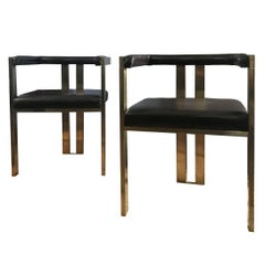 Contemporary Pair of Italian Brass and Brown Leather Modern Style Dining Chairs