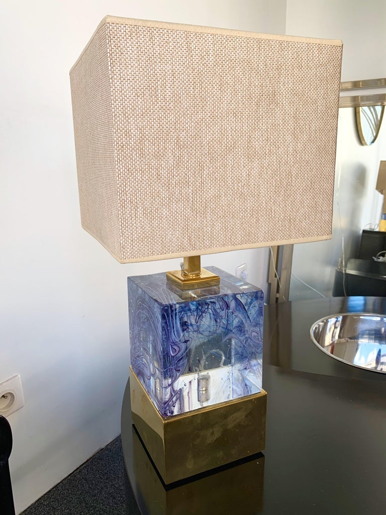 Pressed Contemporary Pair of Lamps Blue Murano Glass and Brass, Italy For Sale