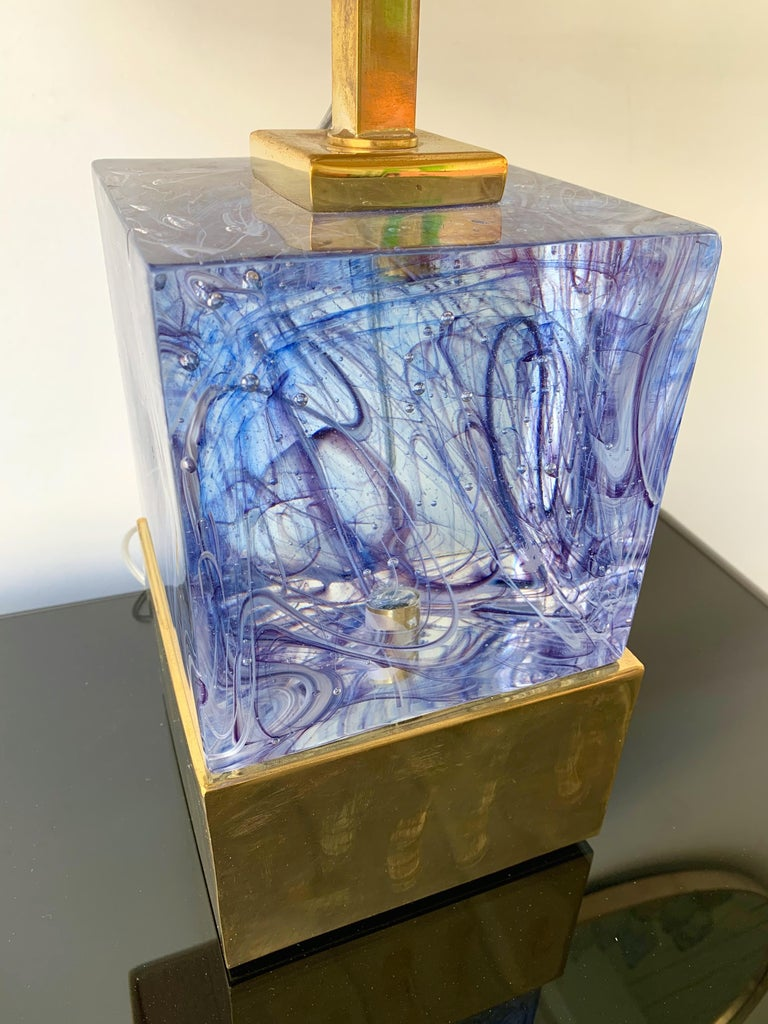 Contemporary Pair of Lamps Blue Murano Glass and Brass, Italy In New Condition For Sale In SAINT-OUEN, FR
