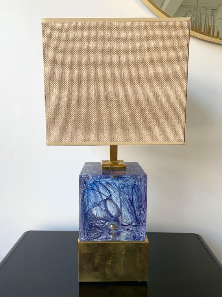Contemporary Pair of Lamps Blue Murano Glass and Brass, Italy For Sale 1