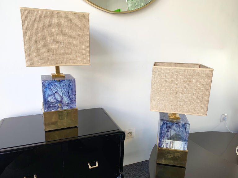 Contemporary Pair of Lamps Blue Murano Glass and Brass, Italy For Sale 2