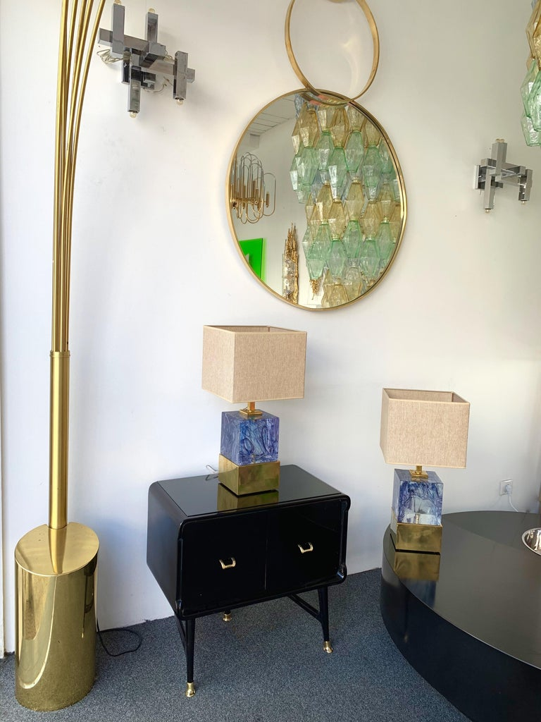 Contemporary Pair of Lamps Blue Murano Glass and Brass, Italy For Sale 3