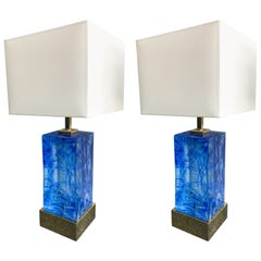 Contemporary Pair of Lamps Blue Murano Glass and Brass, Italy
