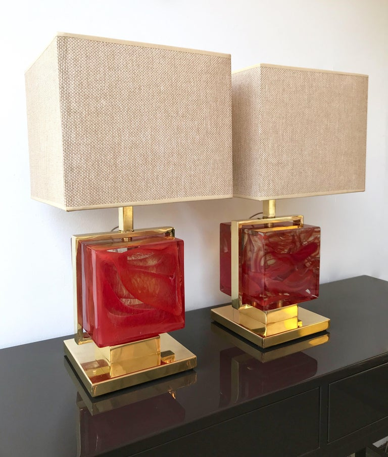 Italian Contemporary Pair of Lamps Brass Cage Murano Glass Cube, Italy For Sale