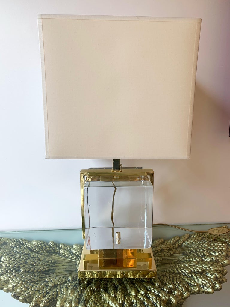 Contemporary Pair of Lamps Brass Cage Murano Glass Cube, Italy For Sale 1