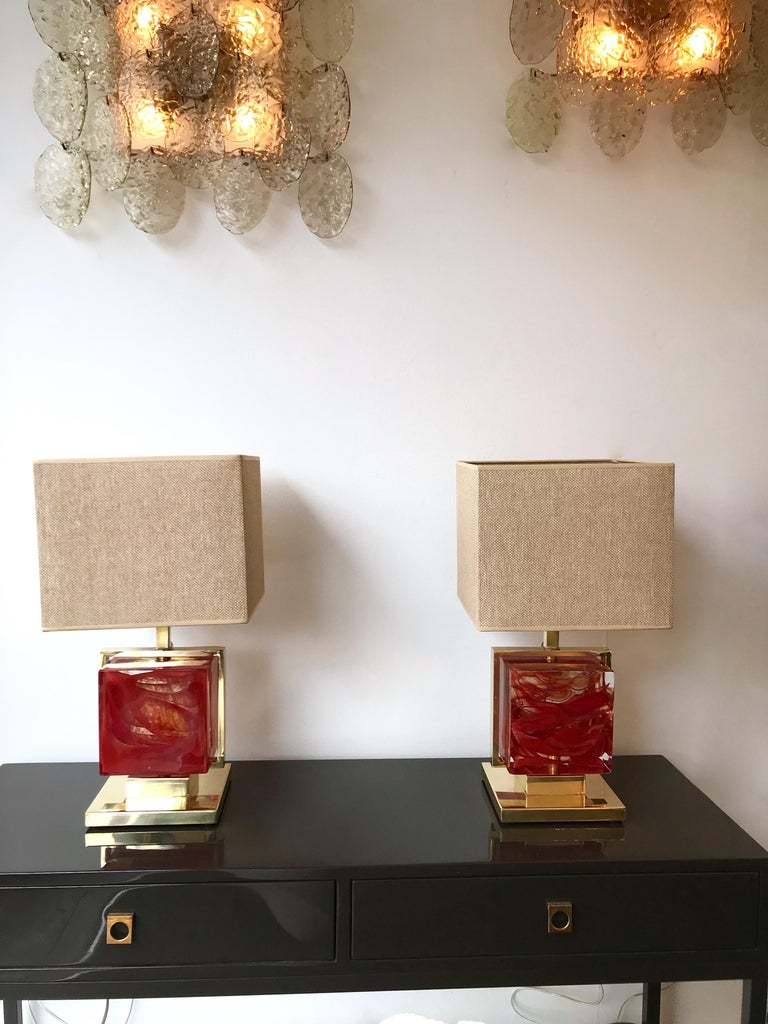 Contemporary Pair of Lamps Brass Cage Murano Glass Cube, Italy For Sale 2