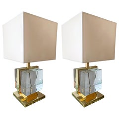 Contemporary Pair of Lamps Brass Cage Murano Glass Cube, Italy