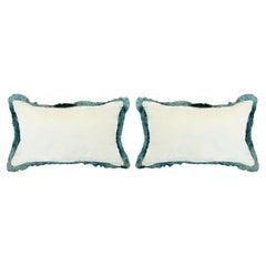 Contemporary Pair of Light Blue Silk Velvet Pillow with Fringe Detail