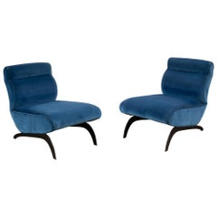 Contemporary Pair of Lounge Chairs in Rubelli Fabric