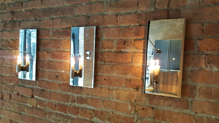 Contemporary Pair of Mirror Polished Stainless Steel Candle Wall Scones In Stock For Sale 2