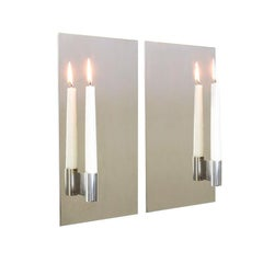 Contemporary Pair of Mirror Polished Stainless Steel Candle Wall Scones In Stock