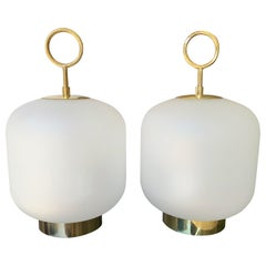 Contemporary Pair of Murano Glass Medium Can Lamps Brass Ring, Italy