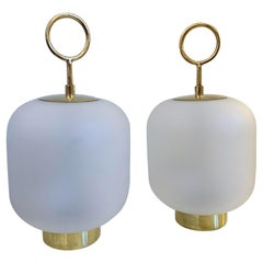 Contemporary Pair of Murano Glass Small Can Lamps Brass Ring, Italy