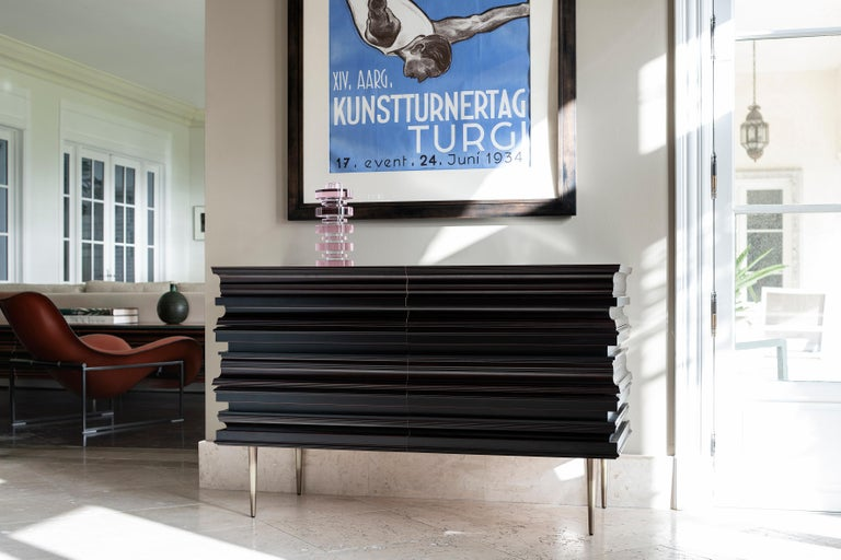 Metal Contemporary Pair of Nightstands with a Dark and Silver Moldings by Luis Pons For Sale